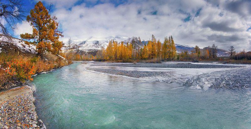 алтай, осень, река, чаган-узун, вода, горы, снег, лед, валерий_чичкин Осень пришла (р.Чаган-Узун)photo preview