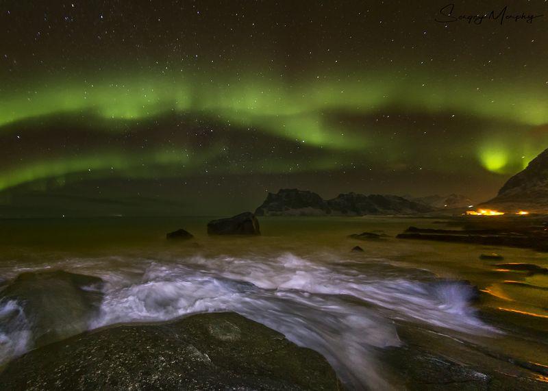 northern lights lofotens norway Rocks, Waves & Northern lights. Lofotens. Norwayphoto preview