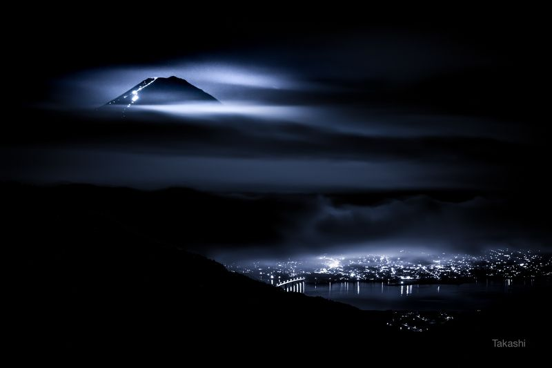 fuji,mountain,japan,cloud,night,night,lake, Mountain climbing of the heavensphoto preview