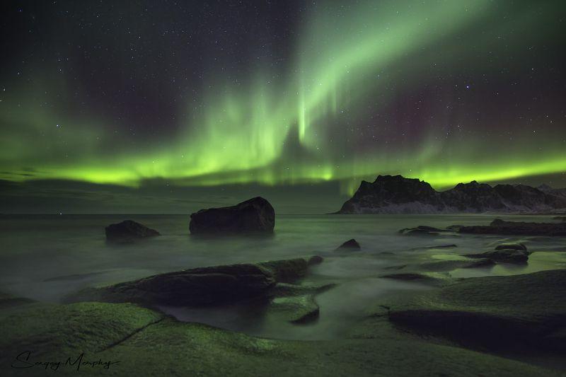 rocks northern lights lofotens norway Rocks & Northern Lights. Lofotens. Norway.photo preview