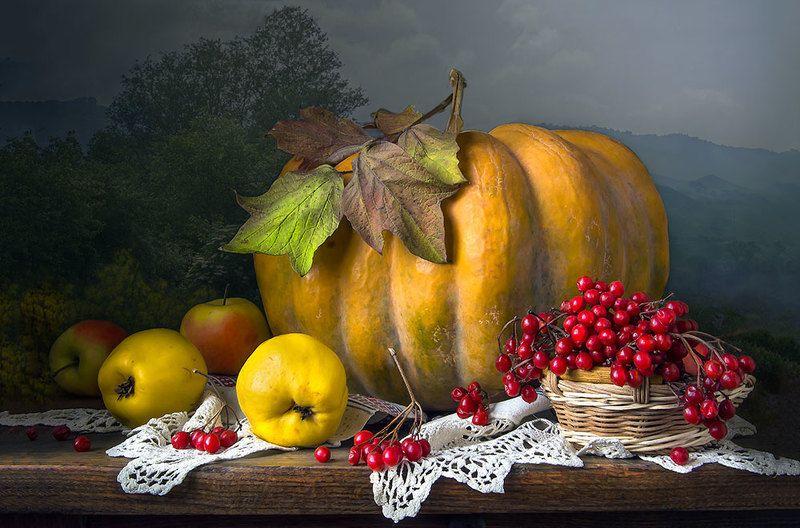 красивый натюрморт с тыквой,яблоки,айва,калина,художественное фото,искусство,творчество. Зимняя тыква.photo preview