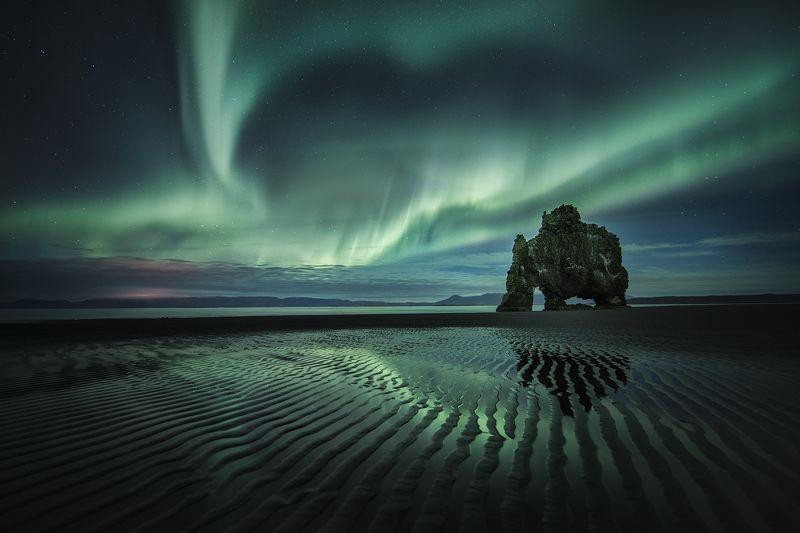 iceland, landscape, nightscape, пейзаж, nature, природа, travel, aurora Hvitserkur, Icelandphoto preview