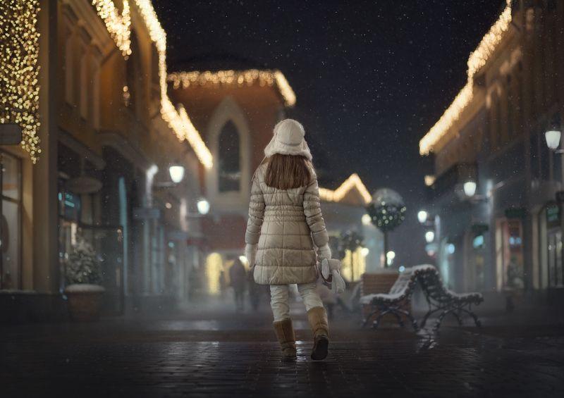 зима, вечер по ночному городуphoto preview
