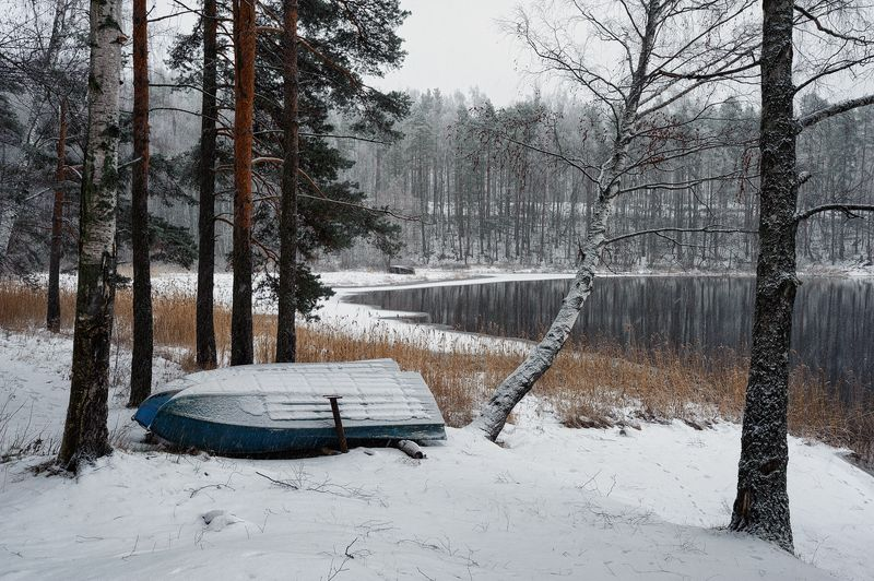 зима,снег,метет,река,вуокса,залив,берег,лодки Тихонько снегом заметает...photo preview