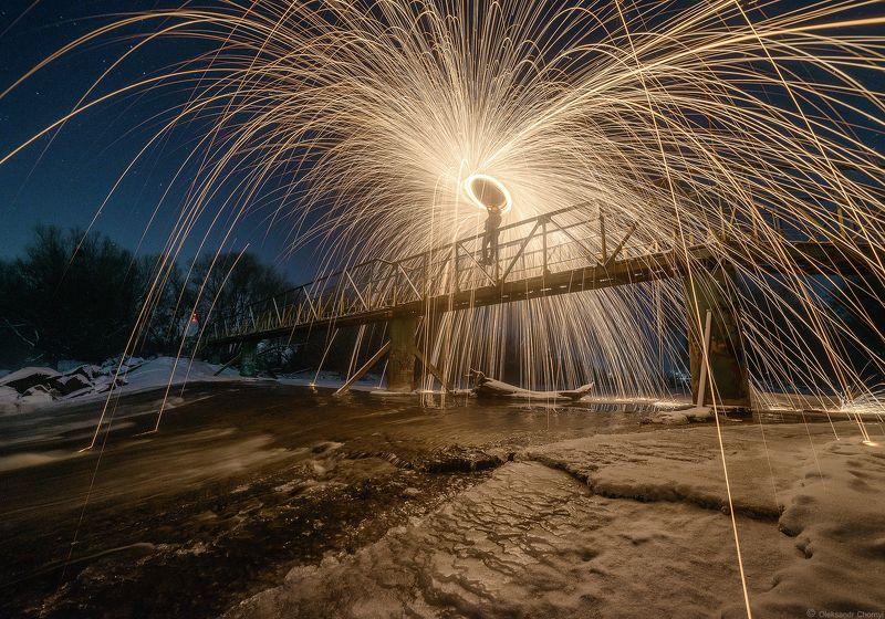 украина, коростышев, зима, ночь, дамба, мост, стальная_вата, \
