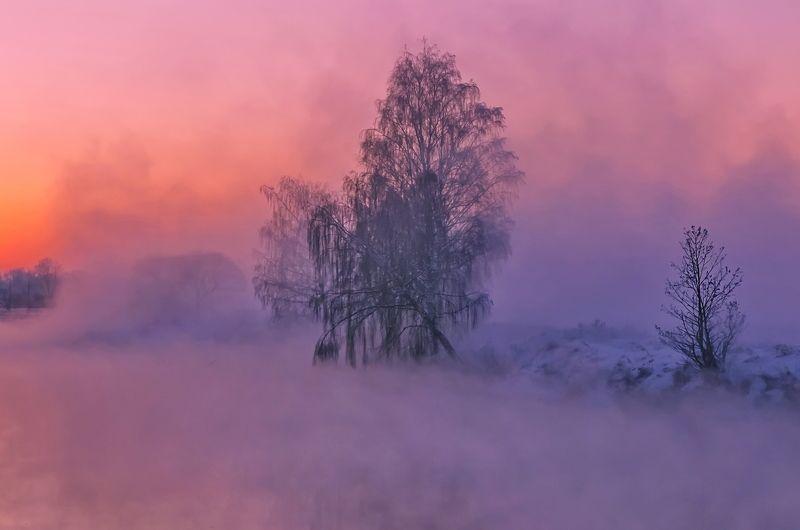 зима, закат, свислочь, беларусь, туман Горячий закатphoto preview