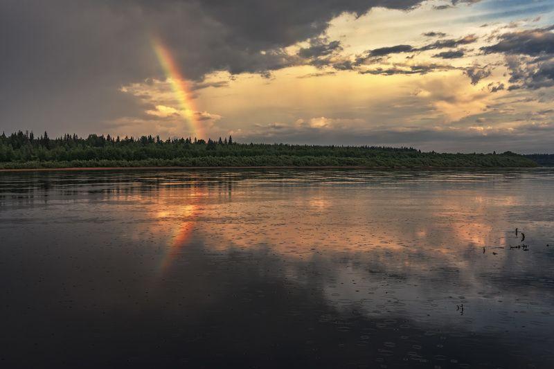 лето, дождь, река, радуга, облака, отражения, лес, вода Лето и дождь не кончаются где-тоphoto preview