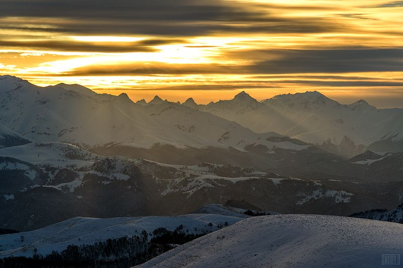 кавказ, пейзаж, зима, снег, горы, закат, облака, Главный Кавказский хребетphoto preview