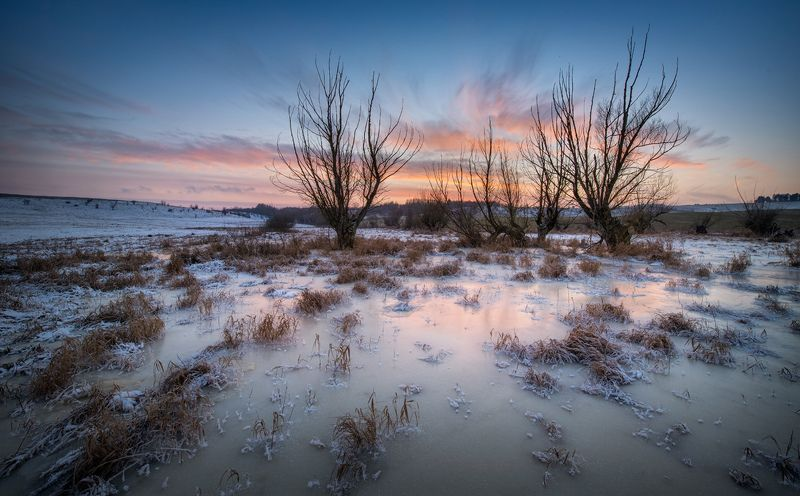 wintertime, poland, pond, sunset, lovepeaceandrockandroll Old Pondphoto preview