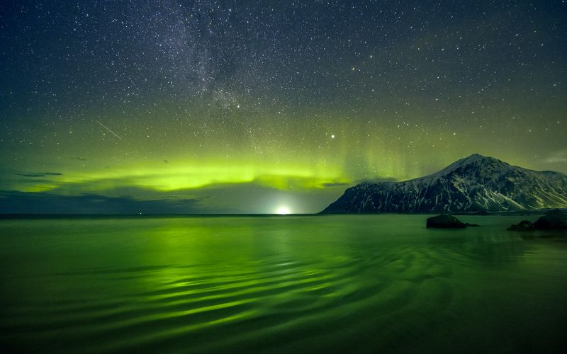 aurora, aurora borealis, coastal, colour, ethereal, green,  northern lights, lofoten, magic, magical, mood, mystic, night, nordic, nordland, norway, reflection, scandinavia, sea, skagsanden, sky Глаз Арктического Драконаphoto preview