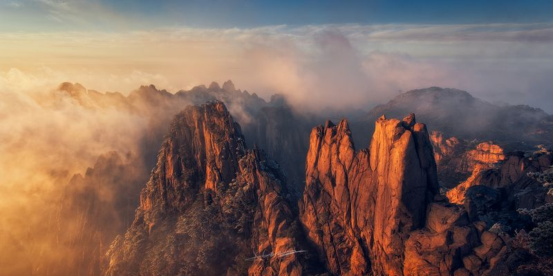 landscape, sunset, fog, light, Yellow Mountainphoto preview