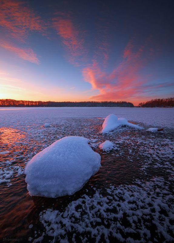 шатура, лед, рассвет, озеро Шатурские мелочи)photo preview