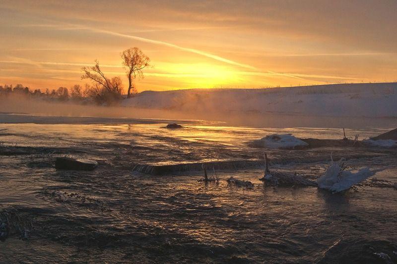 утро весна природа пейзаж якшино река упа Весенней речки болтовняphoto preview