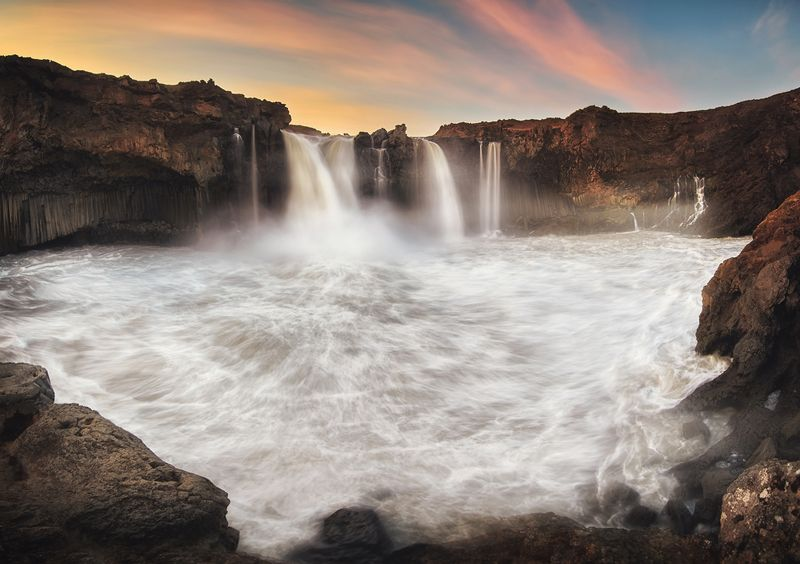 iceland, waterfall, sunset Aldeyjarfossphoto preview