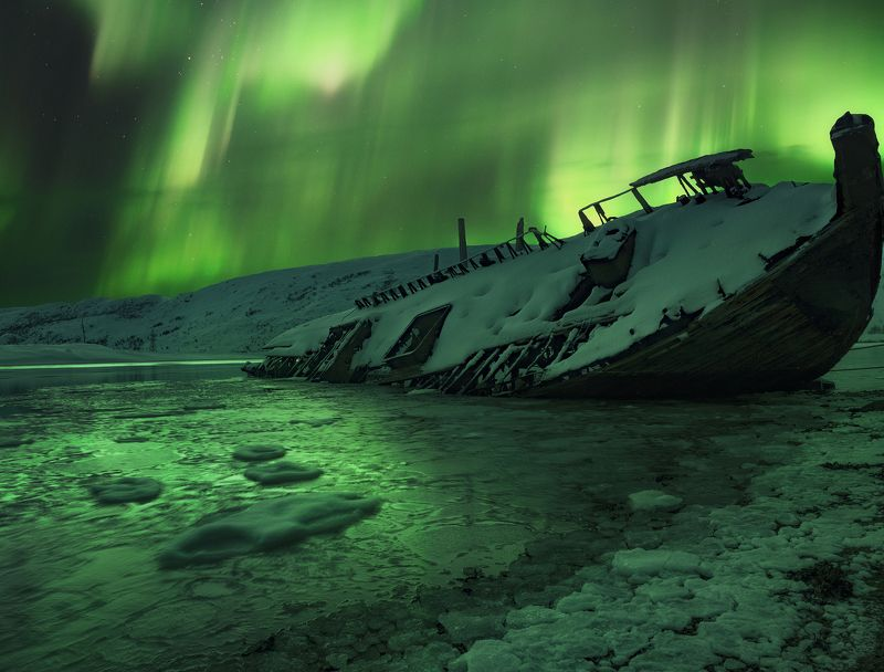 aurora borealis, северное  сияние, териберка Aurora borealisphoto preview