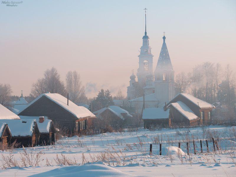 ивановская область, монастырь, храмы, село, русский пейзаж, пейзаж, мороз, морозное утро, провинция, домики, избы, дым, дымка \