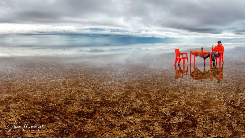 солончак, боливия, южная, америка, салар, уюни, отражение, небо, облакаб пикник, утро, Завтрак на Уюниphoto preview