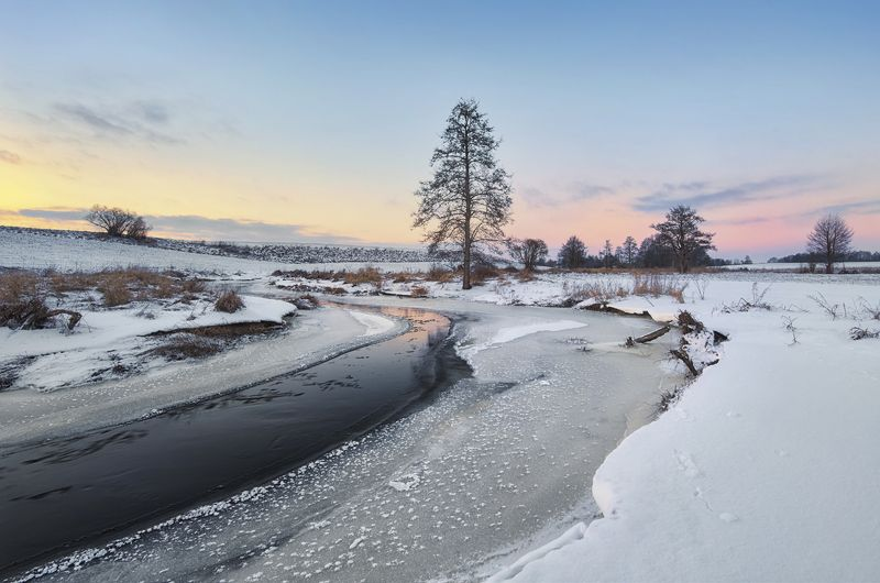 wintertime, poland, river, sunset, pastel, lovepeaceandrockandroll Pastel Of Sunsetphoto preview