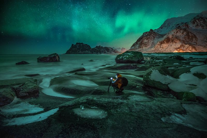 Лофотенские острова, Utakleiv Beach, зима, полярное сияние В ожидании photo preview