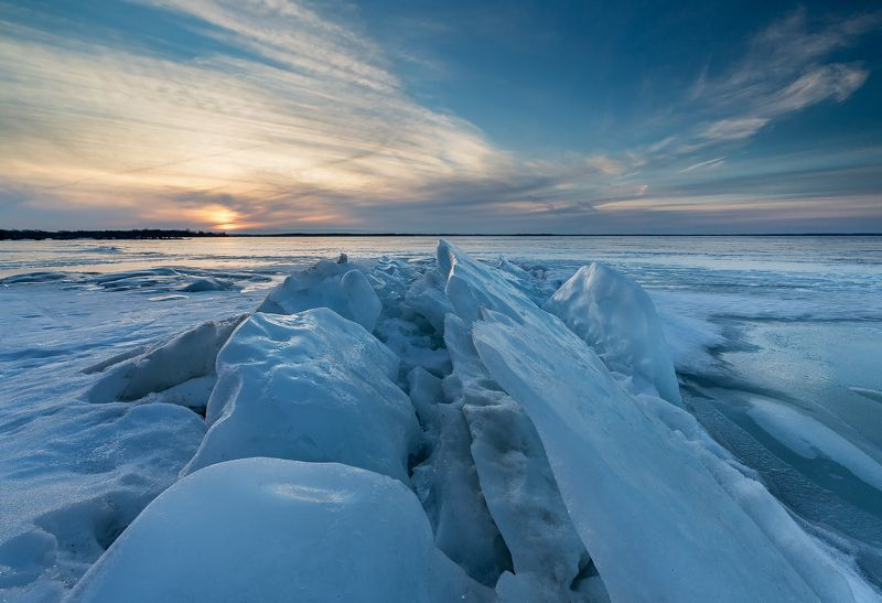 ice, lake, sunset, clouds, sun, sky, лёд, озеро, закат, облака, солнце, небо Spring explosionphoto preview