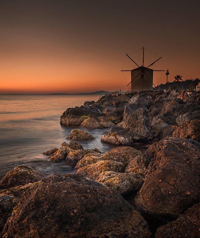 landscape, nature, seascape, sunrise, rocks, coastal, coast, beach, sea, seaside, long, exposure, scenery, windmill, corfu Meetings with the sunrisephoto preview