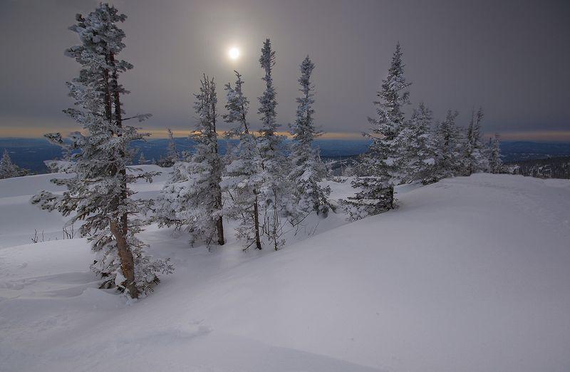 сибирь, горная_шория, шерегеш, горы, вечер Два мгновения Шерегешаphoto preview