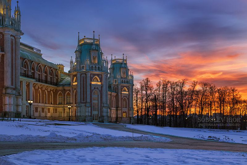 Царицыно, зима, вечер, закат, Tsaritsyno, winter, evening, sunset, Кусочек заката в Царицыноphoto preview