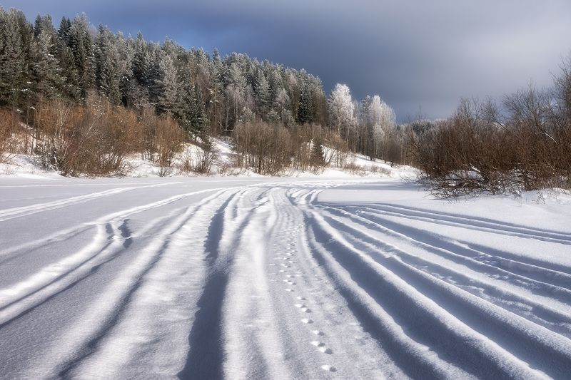 зима март лес иней река следы тени Рассыпался веер следовphoto preview