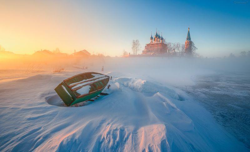 дунилово, теза, ивановская область, река, мороз, туман, рассвет Морозное утро в Дуниловоphoto preview
