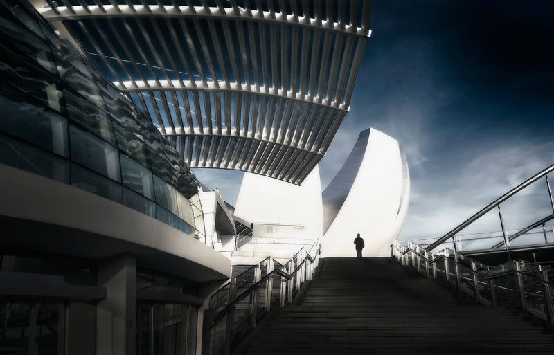 сингапур, архитектура, город, монохром Икарphoto preview