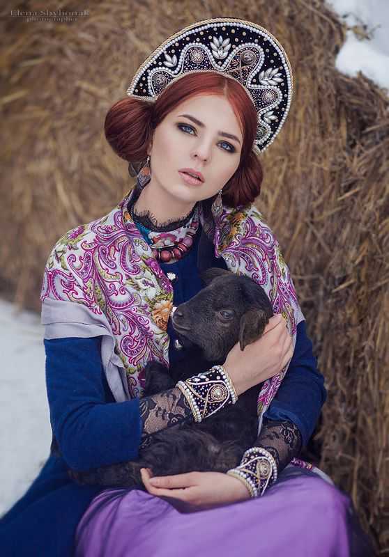 fairy tale, Russian beauty, winter, snow, lamb Russian beautyphoto preview