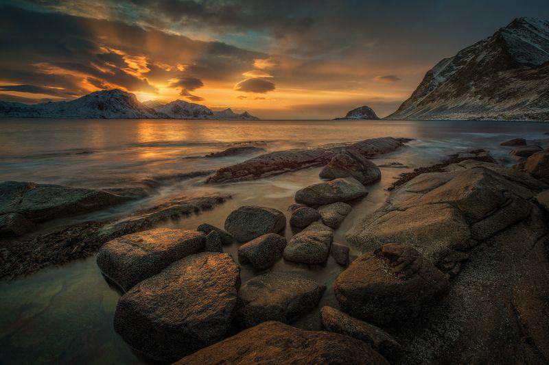 Лофотенские острова, Haukland Beach, Последние краски дняphoto preview