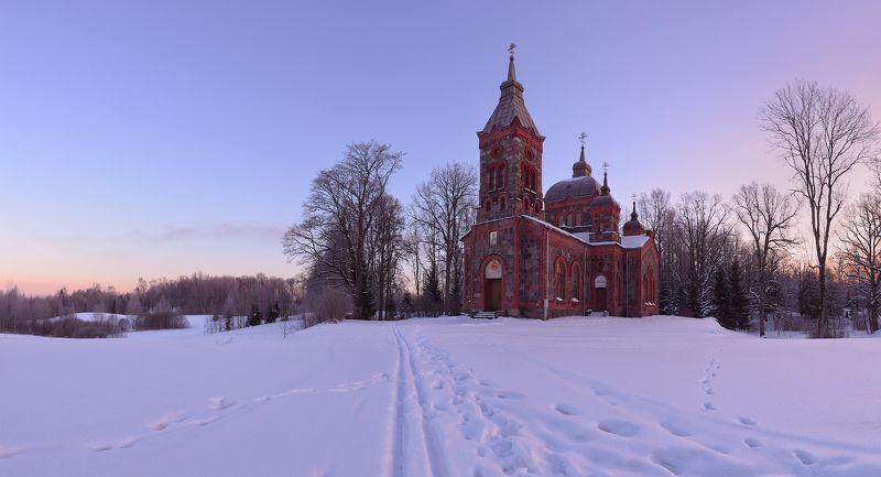 панорама мороз зима рассвет латвия -23Cphoto preview