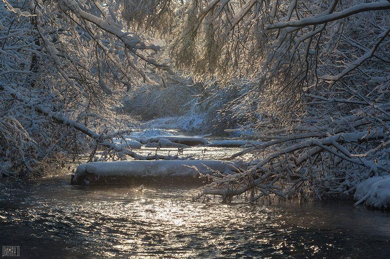 зима, снег, река, деревья, мороз, свет, Тоннельphoto preview