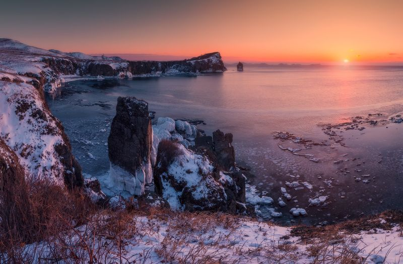 утро, море, скалы, лёд, восход ***photo preview