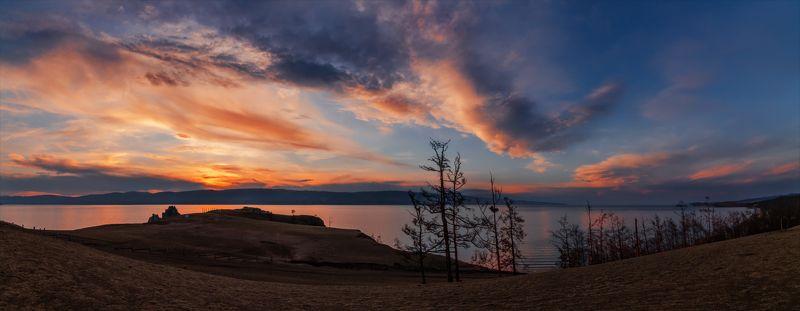 природа, пейзаж, панорама, берег, лето, сибирь, остров, ольхон, озеро, байкал, закат, вечер, *****photo preview