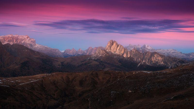 доломиты, горы, альпы, рассвет, утро, облака Рассветные Альпыphoto preview