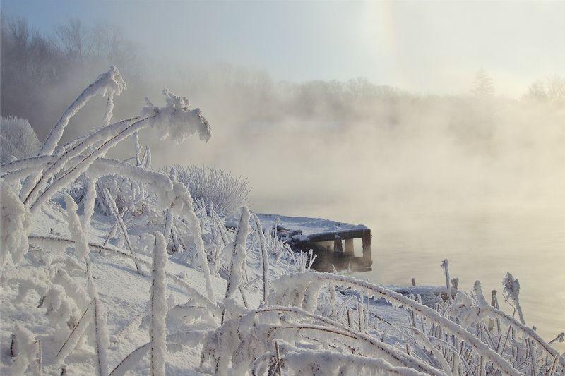 зима, утро, снег, иней, мостик, пейзаж Мостик у края зимыphoto preview
