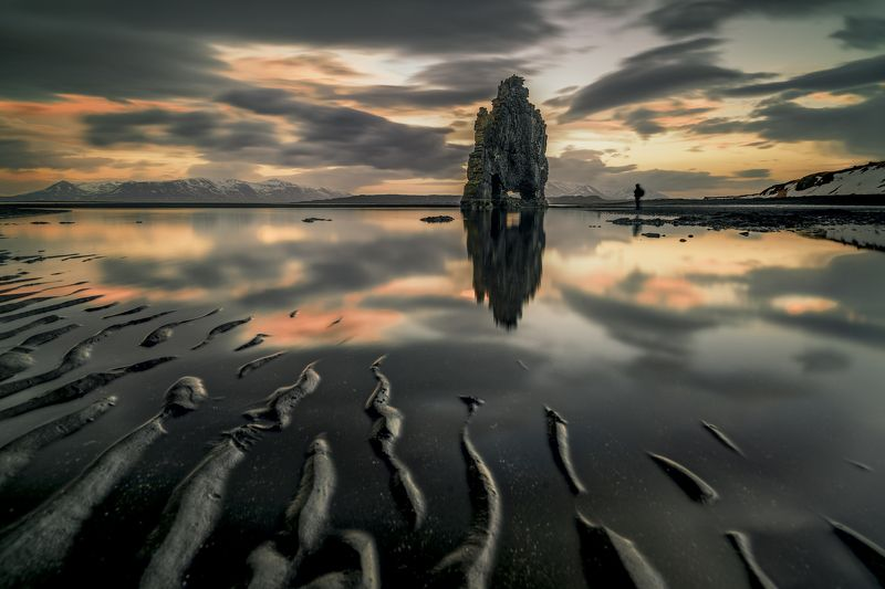 iceland,rock,travel,reflection,sea,water,sunset,sand,Hvitserkur,nikon D810,zeiss 21mm,siluets,clouds,montains dragon in the firephoto preview
