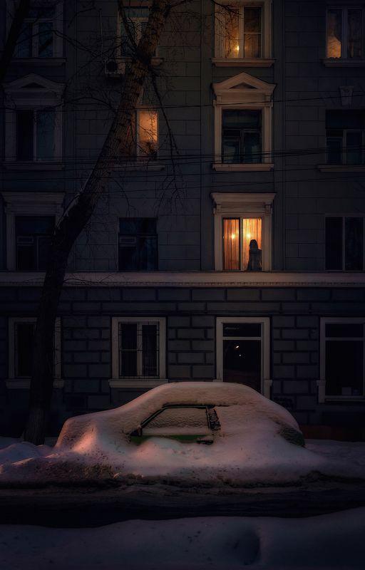 город, ночь, снег, зима, улица Полночьphoto preview