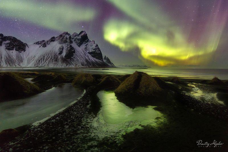 пейзаж, ночь, ночной пейзаж, северное сияние, аврора бореалис, исландия, вестрахорн, стоккнесс, океан, побережье, фототур, горы, природа одна волшебная ночьphoto preview