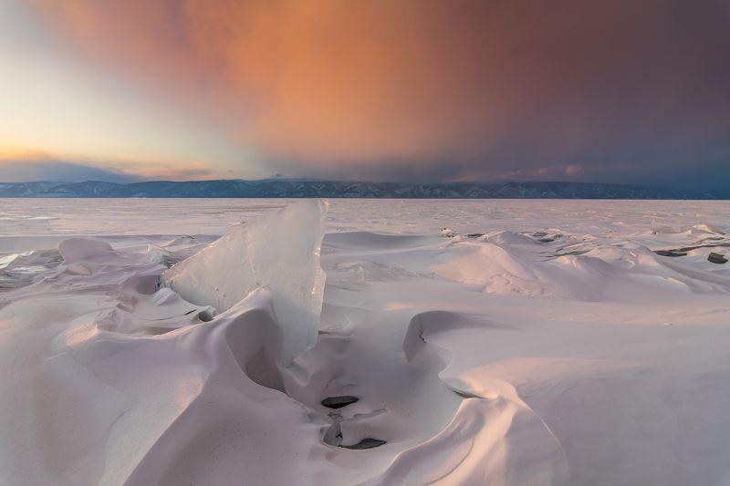 байкал,озеро,зима, лед, закат Занавесphoto preview