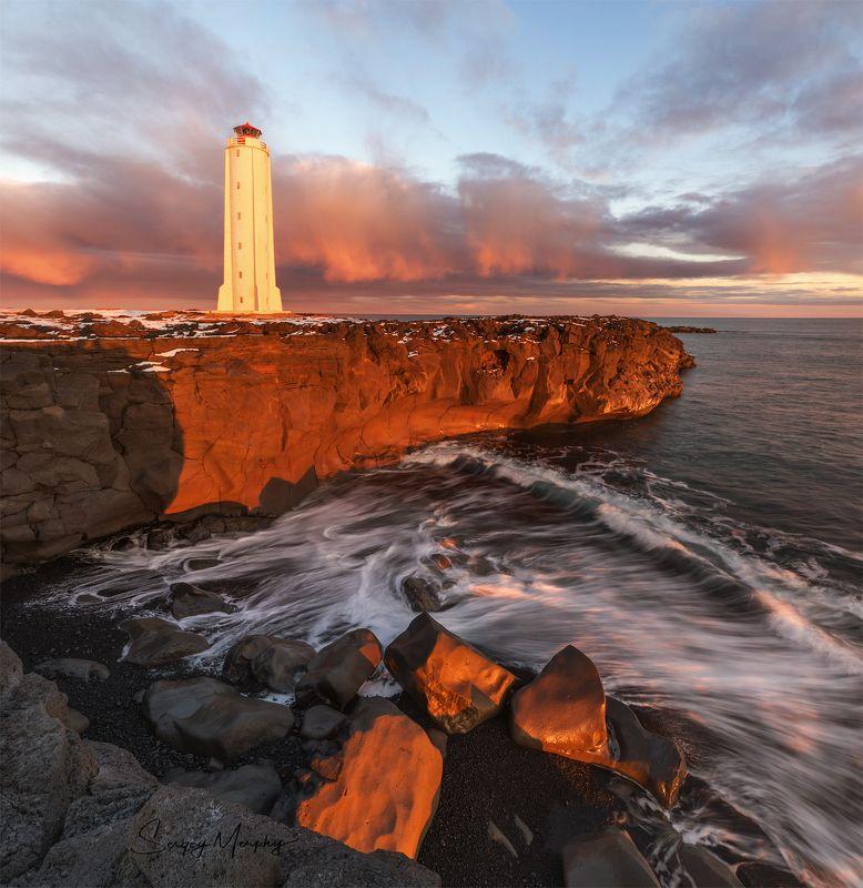 iceland, malarrif, lighthouse, sunset Malarrif lighthouse & sunset. Iceland.photo preview