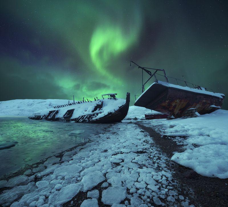 aurora borealis, северное сияние, кольский полуостров Aurura\'s swanphoto preview