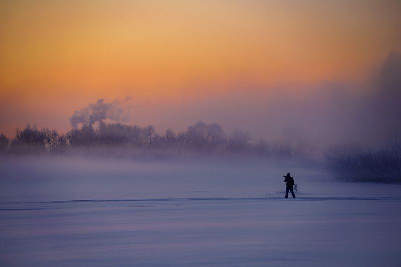 мороз, утро, туман, восход \