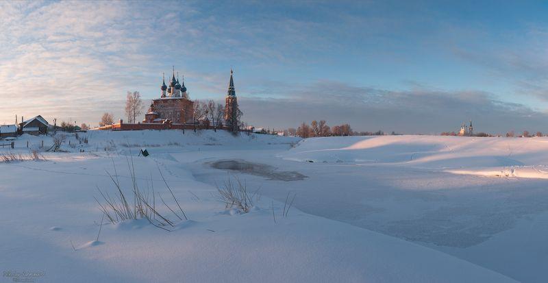 дунилово, теза, ивановская область, золотое кольцо, зима, зимний пейзаж, панорама, благовещенский собор, благовещенский монастырь, село, россия \