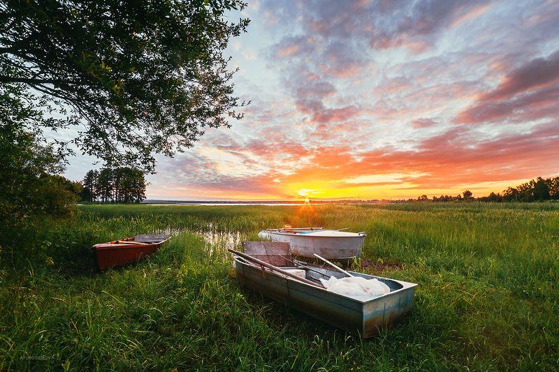 утро, рассвет, озеро, берег, лодка, небо, облака, лето В лучах Солнцаphoto preview