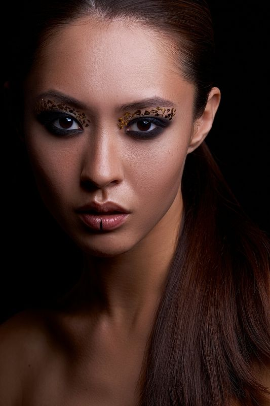 beauty, portrait, low key, asia, girl, dark, make up, бьюти photo preview