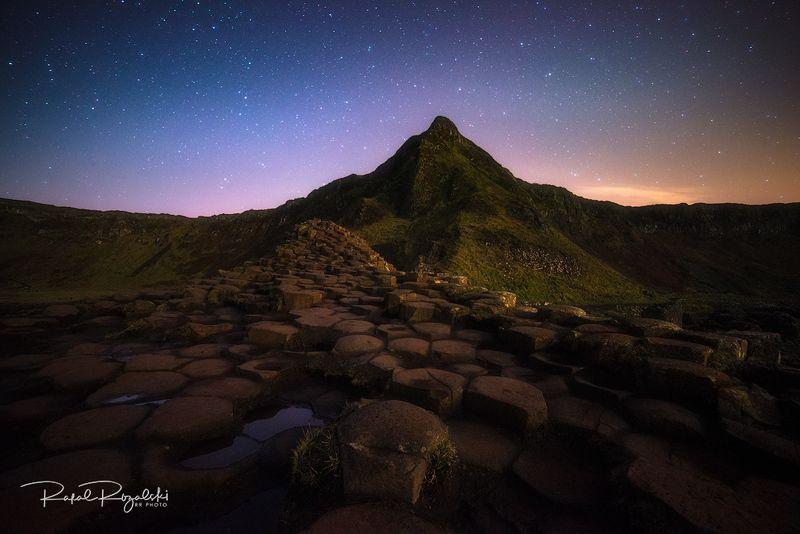 northern ireland, night, landscape, antrim, giant\'s causeway, stars, outdoor Giant\'s Causeway at night Co. Antrim - Northern Irelandphoto preview