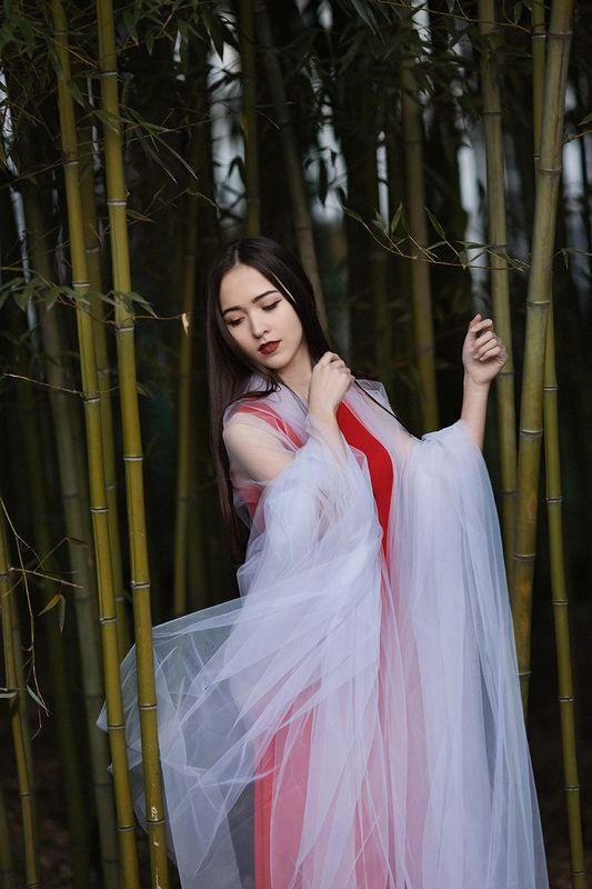 фото, портрет, девушка, красный, азия, цветы ***photo preview
